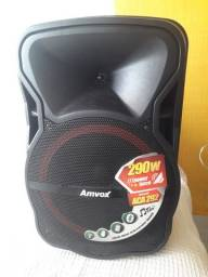 Caixa Amplificada Portátil 290w Potência  - Amvox