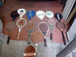raquetes de tenis, diversas usadas para iniciantes, ou curiosos e colecionadores