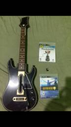 GUITARRA PS3 + 2 JOGOS ORIGINAIS DE BRINDE