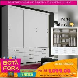 BOTA FORA JANEIRO / ROUPEIRO 03 PORTAS Deslizantes 9 gavetas (montagem grátis)