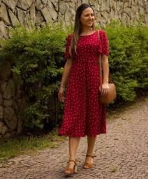 Vestido midi vermelho Singela Veste