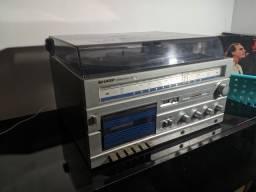 Toca disco 3x1 Sharp SG-15b + 2 caixas philips