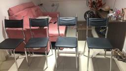 Cadeiras alumínio e couro preto