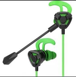 Fone de ouvido gamer para jogos, microfone dobrável e com cancelamento de ruído