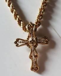 Cordão Ouro 18k lindo c Crucifixo de Brilhante