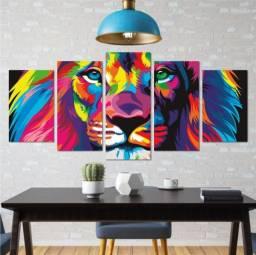 Quadro Decorativo O Leão de Judá, Colorido e Moderno > Promoção <