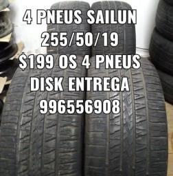 Pneu 255/50/19 os 4 pneus por $199 reais. Não é vulcanizado