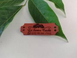 Etiqueta em couro legítimo - 4.5 x 1.5 - Gravação e corte a laser