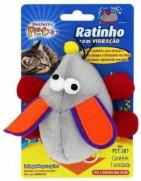 Brinquedo De Pelúcia Ratinho C/ Vibração De Corda. P/ Gatos