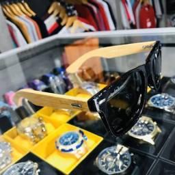 Óculos de Sol Polarizado Preto com Madeira