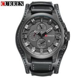 79e57bd4a0da6 Relógio Masculino Curren 8225 Bracelete de Couro Preto Promoção de Férias  de Verão