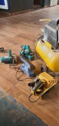 Compressor, serra mármore,  plaina, lixadeiras