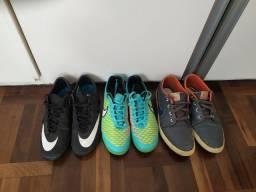 2 Chuteiras e 1 tênis Nike n° 37