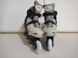 Patins Roller In-line (Cinza e branco) (Ajustável do 29 ao 32) BelSports