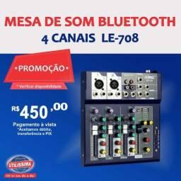 Mesa de som bluetooth  4 canais  LE-708  -Entrega Gratis