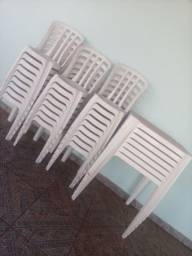Mesa cadeiras plásticas