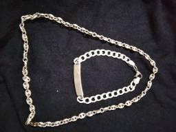 corrente de prata e pulseira