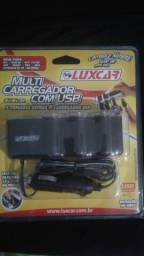 Multi Carregador com USB - LuxCar