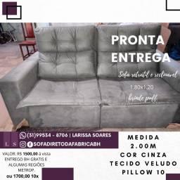 Sofá retrátil e reclinavel Pronta Entreg 2.00 m. cor cinza - Novo Direto Fabrica