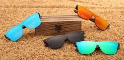 Óculos De Sol Barcur Madeira Polarizado Com Case De Madeira