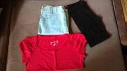 Saia Jeans (38) + Blusa de Malha (M) + Legging preta (M)