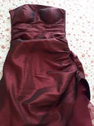 Vestido de festa longo vinho tamanho P