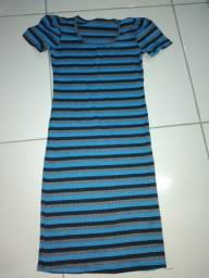 Título do anúncio: Vestido canelado na cor azul com listras  preta com laycra de listra