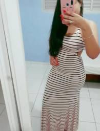 Vestido longo- listras