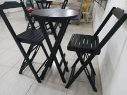 Conjunto de mesa de madeira, modelo: Bistrô