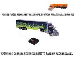 CAMINHÃO CARRETA CONTROLE REMOTO BATERIA RECARREGÁVEL