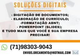 (AC) Soluções Digitais para você e sua empresa: Digitação, Formatação, Apresentações etc
