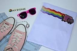 Título do anúncio: Camiseta Gatinho Arco-íris