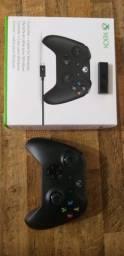 Controle Xbox one + fio + adaptador wireless para PC