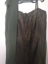 Vestido Tafetá verde lodo longo
