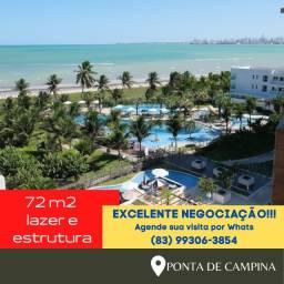 Apartamento - Ponta de Campina 72m2 - Pé na Areia - Oportunidade