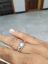 Anel Prata Com Ouro + pedra zircônia.