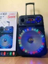 Caixa de Som 5000W Bluetooth Microfone S/ fio e Controle remoto .