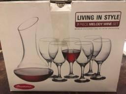 Conjunto 6 taças e decanter para vinho novo