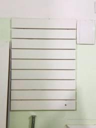 2 Painel Canaletado Branco C/ Canaleta 90x90 + 50 Gancho 15