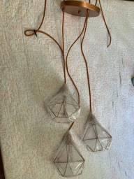 Conjunto Lustre Pendente Diamante Triplo Aramado Cobre - Canopla Cobre