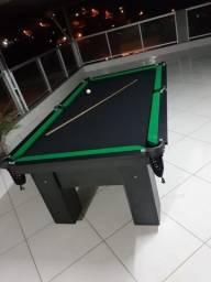 Mesa de Bilhar Charme Preta Tx Tecido Preto Bordas Verdes Modelo HDO5658