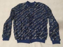 Jaqueta Bomber bordada toda em paete azul e prata