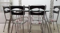 Mesa Cozinha Vidro com 6 cadeiras