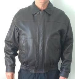 Jaqueta masculina couro legítimo