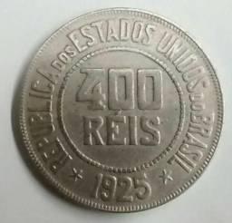Moedas antigas 400 reis de 1925 e 1938 e moeda do centenário 500 reis