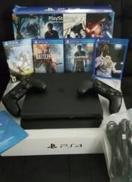 PlayStation 4 Slim 1tera + 2 Controles Originais + Jogos