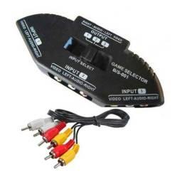 Chaveador av rca seletor 1 output 3 input tv ps3 dvd