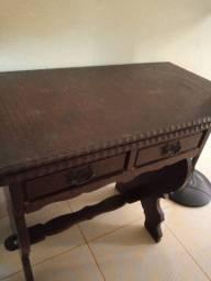 Vendo mesa cadeira de estudos em madeira colonial antiga
