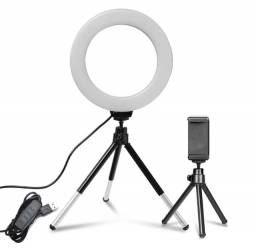 Ring Light Iluminador + Tripé Cel p/ Lives, You Tube, Instagram, Whats