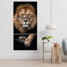 Quadro Decorativo Leão Majestoso - Promoção! - Mosaico 3 peças